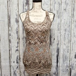 INC Tank Top Sweater Womens Small Brown Gold